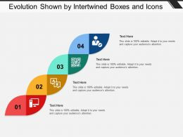 Evolution Shown By Intertwined Boxes And Icons