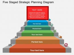 ew Five Staged Strategic Planning Diagram Flat Powerpoint Design