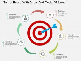 Ew Target Board With Arrow And Cycle Of Icons Flat Powerpoint Design