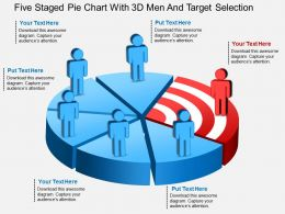ex_five_staged_pie_chart_with_3d_men_and_target_selection_powerpoint_template_Slide01