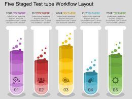 ex_five_staged_test_tube_workflow_layout_flat_powerpoint_design_Slide01