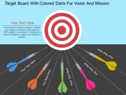 ex Target Board With Colored Darts For Vision And Mission Flat Powerpoint Design