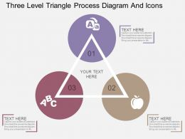ex Three Level Triangle Process Diagram And Icons Flat Powerpoint Design