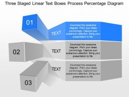 ex Three Staged Linear Text Boxes Process Percentage Diagram Powerpoint Template
