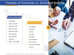 Example Of Functional Vs Emotional Benefits Sensory Appeal Ppt Presentation Guide