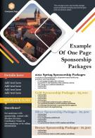 Example Of One Page Sponsorship Packages Presentation Report Infographic PPT PDF Document
