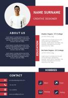 Example Of Resume For Creative Designer