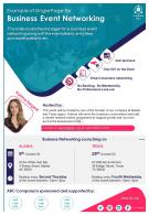 Example Of Single Page For Business Event Networking Presentation Report Infographic PPT PDF Document