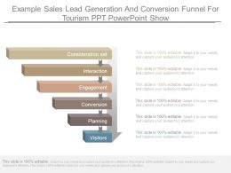 Example Sales Lead Generation And Conversion Funnel For Tourism Ppt Powerpoint Show