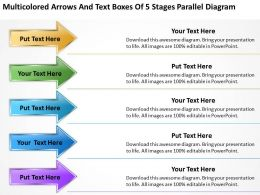 Examples Of Business Processes And Text Boxes 5 Stages Parallel Diagram Powerpoint Templates