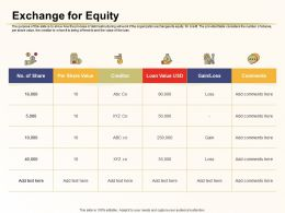 Exchange For Equity Creditor Loan Ppt Powerpoint Presentation Deck