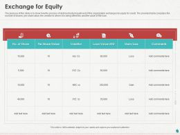 Exchange For Equity Ppt Powerpoint Presentation Infographics Example Topics