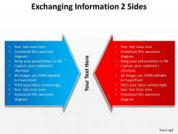 exchanging information 2 sides comparision using arrows inwards powerpoint templates 0712