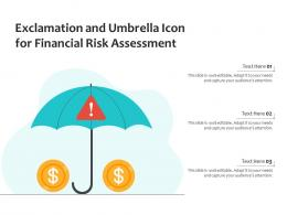Exclamation And Umbrella Icon For Financial Risk Assessment