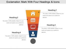 Exclamation Mark With Four Headings And Icons