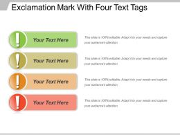 Exclamation Mark With Four Text Tags