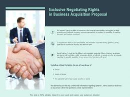 Exclusive Negotiating Rights In Business Acquisition Proposal Ppt Slides