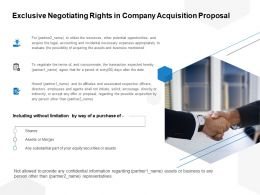 Exclusive Negotiating Rights In Company Acquisition Proposal Ppt Powerpoint Presentation