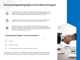 Exclusive Negotiating Rights In Joint Venture Proposal Ppt Powerpoint Slides