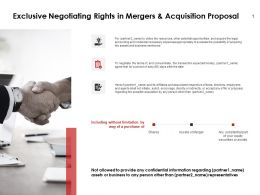 Exclusive Negotiating Rights In Mergers And Acquisition Proposal Powerpoint Slides