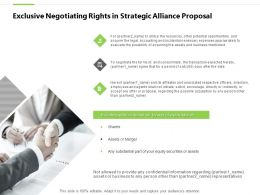 Exclusive Negotiating Rights In Strategic Alliance Proposal Shares Ppt Slides