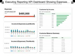 Executing Reporting Kpi Dashboard Showing Expenses Customer By Income
