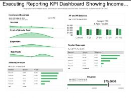 Executing Reporting Kpi Dashboard Showing Income Sales By Product Vendor Expenses