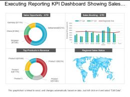 Executing Reporting Kpi Dashboard Showing Sales Opportunity And Sales Booking