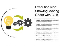 Execution Icon Showing Moving Gears With Bulb