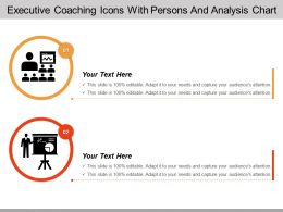 Executive Coaching Icons With Persons And Analysis Chart