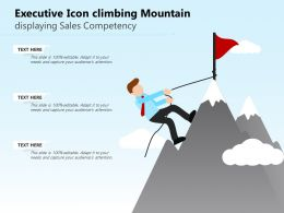 Executive Icon Climbing Mountain Displaying Sales Competency
