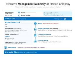 Executive Management Summary Of Startup Company