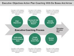 Executive Objectives Action Plan Coaching With Six Boxes And Arrow
