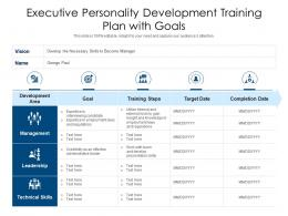 Executive Personality Development Training Plan With Goals