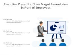 Executive Presenting Sales Target Presentation In Front Of Employees