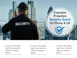 Executive Protection Security Guard On Phone And Uk