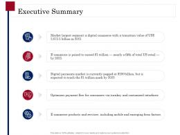 Executive Summary Digital Payment Business Solution Ppt Powerpoint Model Pictures