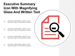 Executive Summary Icon With Magnifying Glass And Written Text