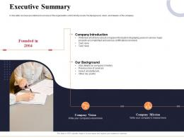Executive Summary Marketing And Business Development Action Plan Ppt Brochure