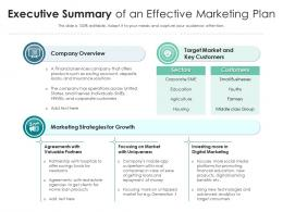 Executive Summary Of An Effective Marketing Plan