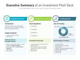 Executive Summary Of An Investment Pitch Deck