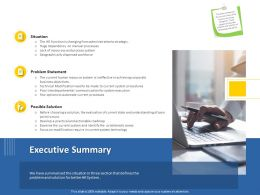 Executive Summary On Modification Ppt Powerpoint Presentation Model Clipart