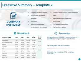 Executive Summary Ppt Styles Example Topics