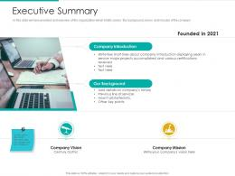 Executive Summary Strategic Plan Marketing Business Development Ppt Tips
