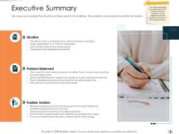 Executive Summary Technology Disruption In HR System Ppt Elements