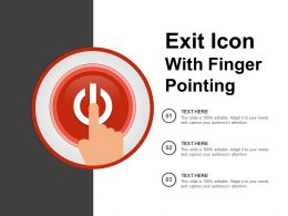 Exit Icon With Finger Pointing