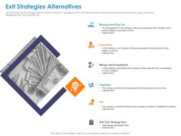 Exit Strategies Alternatives Acquisitions Ppt Powerpoint Presentation Styles Infographics