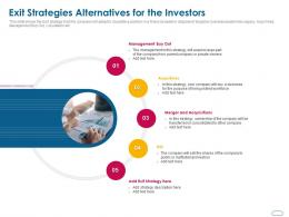 Exit Strategies Alternatives For The Investors Ppt Powerpoint Presentation Gallery Example File