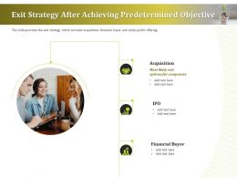 Exit Strategy After Achieving Predetermined Objective Ppt Layouts Format