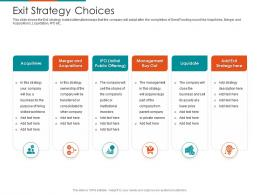 Exit Strategy Choices Raise Seed Financing From Angel Investors Ppt Designs